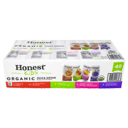 Honest Kids Organic Fruit Juice Drink Boxes Variety Pack, 6 Oz, Pack Of 40 Boxes
