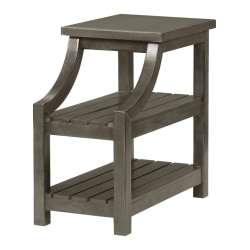 "Powell Dutton 2-Shelf Side Table, 23""H x 14""W x 24""D, Gray"