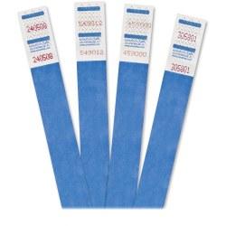 "Advantus 500-Pack Tyvek Colored Wrist Bands - 3/4"" Width x 10"" Length - Rectangle - Blue - Tyvek - 500 / Pack"