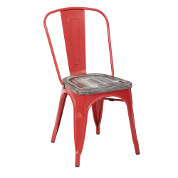 Office Star™ Bristow Armless Chairs with Wood Seats, Ash Crazy Horse/Red, Set Of 4 Chairs