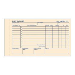 """Rediform® Daily Time Clock Card Pads, For Daily Time/2-Page, 4.25"""" x 7"""", Manila, 100 Pages"""