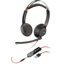 Plantronics Blackwire C5220 Headset - Stereo - USB Type A - Wired - 20 Hz - 20 kHz - Over-the-head - Binaural - Supra-aural - Noise Cancelling Microphone
