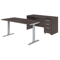 """Bush Business Furniture Studio C 60""""W x 30""""D Height Adjustable Standing Desk, Credenza and One Mobile File Cabinet, Storm Gray, Standard Delivery"""