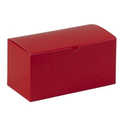 """Partners Brand Holiday Red Gift Boxes 9"""" x 4 1/2"""" x 4 1/2"""", Case of 100"""
