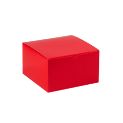 """Partners Brand Holiday Red Gift Boxes 10"""" x 10"""" x 6"""", Case of 50"""