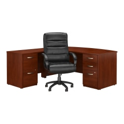 "Bush Business Furniture Components Elite 72""W Bow Front L Shaped Desk with File Cabinets and High Back Office Chair, Hansen Cherry, Standard Delivery"
