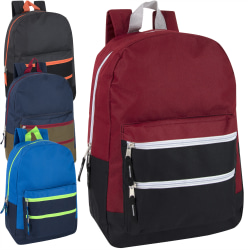 Trailmaker Triple-Pocket Backpacks, Assorted Colors, Pack Of 24 Backpacks