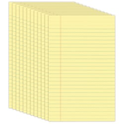 "Office Depot® Brand Jr. Glue-Top Writing Pads, 5"" x 8"", Narrow Ruled, 50 Sheets, Canary, Pack Of 12 Pads"