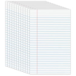 "Office Depot® Brand Jr. Glue-Top Writing Pads, 5"" x 8"", Narrow Ruled, 50 Sheets, White, Pack Of 12 Pads"