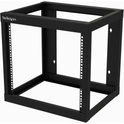 StarTech.com 9U Wall-mount Rack - Open Frame - 2 Post - 18 in. Deep - Steel - Black - EIA 310 - 175 lb. (80 kg) Weight Cap (RK919WALLO)