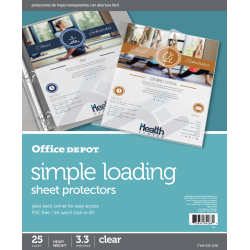 "Office Depot® Brand Simple-Loading Sheet Protectors, 8-1/2"" x 11"", Clear, Pack of 25"