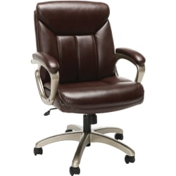 Essentials By OFM Bonded Leather Mid-Back Chair, Brown/Black