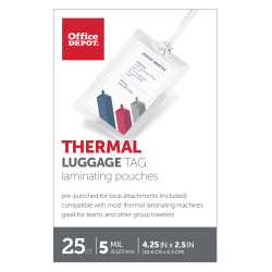 """Office Depot® Brand Laminating Pouches, Luggage Tag With Loop, 5 Mil, 2 1/2"""" x 4 1/4"""", Pack Of 25"""