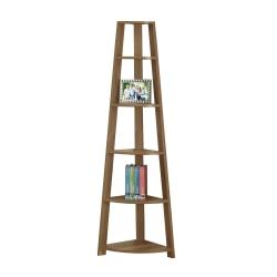 Monarch Specialties 5-Shelf Etagere Corner Bookshelf, Walnut