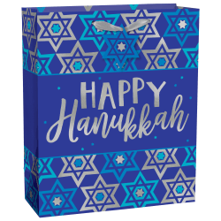 "Amscan Happy Hanukkah Large Gift Bags, 12""H x 10""W x 5""D, Blue, Pack Of 20 Gift Bags"