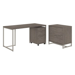 """kathy ireland® Office by Bush Business Furniture Method Table Desk with File Cabinets, 60""""W, Cocoa, Premium Installation"""