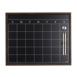 """U Brands Magnetic Chalk Calendar Board, 16"""" x 20"""", Rustic Aluminum Frame"""