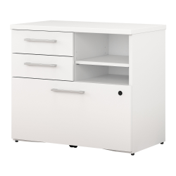 """Bush Business Furniture 400 30""""W Lateral 3-Drawer File Cabinet, White, Standard Delivery"""