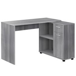 Monarch Specialties Corner Computer Desk With Storage Cabinet, Gray