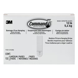 "3M™ Command™ Damage-Free Picture Hanging Strips, Medium, 5-5/8"" x 5-3/16"", Pack Of 132 Strips"