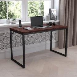 "Flash Furniture 48""W Commercial-Grade Industrial Office Desk, Mahogany"