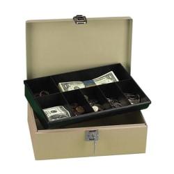 "PM Securit Lock N' Latch Steel Cash Box - 2 Bill - 5 Coin - Steel, Plastic - 4"" Height x 11"" Width x 7.5"" Depth"