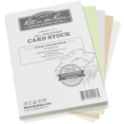 """Rite In The Rain All-Weather Card Stock, 5"""" x 7"""", Assorted Colors, 80 Sheets Per Ream"""