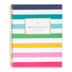"""AT-A-GLANCE® Emily Ley Simplified Academic Weekly/Monthly Planner, 8-1/2"""" x 11"""", Happy Stripe, July 2020 to June 2021, EL400-901A"""