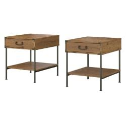 kathy ireland® Home by Bush Furniture Ironworks Set of 2 End Tables, Vintage Golden Pine, Standard Delivery