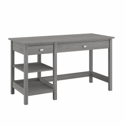 """Bush Furniture Broadview 54""""W Computer Desk with Shelves, Modern Gray, Standard Delivery"""