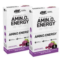 Optimum Nutrition Essential Amino Energy Stick Packs, 0.31 Oz, Concord Grape, 6 Sticks Per Box, Pack Of 2 Boxes
