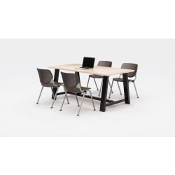 KFI Studios Midtown Table With 4 Stacking Chairs, Kensington Maple/Brownstone
