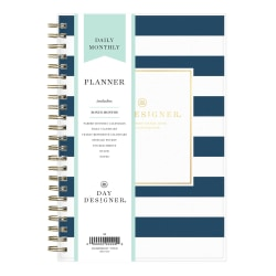 """Day Designer® Daily/Monthly Planner, 5"""" x 8"""", Navy Stripe, January To December 2021, 103623"""