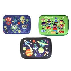 "Inkology Plastic Pencil Cases, 6""H x 9""W x 13""D, Assorted Designs, Pack Of 6 Pencil Cases"