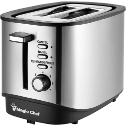 Magic Chef 2-Slice Toaster in Stainless Steel - Toast, Bagel, Reheat, Defrost - Stainless Steel