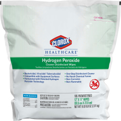 """Clorox Healthcare Hydrogen Peroxide Disinfecting Wipes, 12"""" x 11"""", White, 185 Pack"""