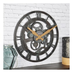 FirsTime & Co.® Oxidized Gears Round Wall Clock, Metallic Teal