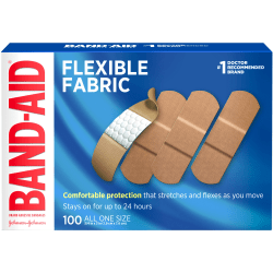 BAND-AID® Brand Flexible Fabric Bandages All One Size, 100 Count