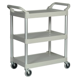 "Rubbermaid 3-Shelf Utility Cart, 37 3/4""H x 33 5/8""W x 18 5/8""D, Platinum"