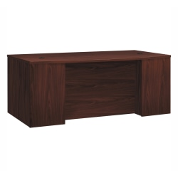 HON® Foundation Laminate Breakfront Desk Shell With Bowfront, Mahogany