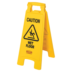 """Rubbermaid® Caution Wet Floor Safety Sign, 25"""" x 11"""", Yellow"""