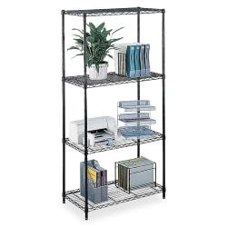 Safco Commercial Wire Steel Shelving Unit, 4 Shelves/4 Posts, Black