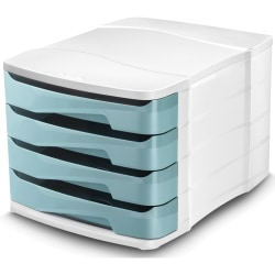 "CEP Ellypse 4-Drawer Filing Module - 450 x Sheet - 4 Drawer(s) - 9.6"" Height x 15.3"" Width x 11.5"" Depth - Desktop - Mint - Polystyrene - 1 Each"