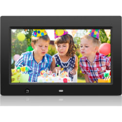 """Aluratek 10 inch Digital Photo Frame with Motion Sensor and 4GB Built-in Memory - 10"""" LCD Digital Frame - Black - 1024 x 600 - Cable - 16:9 - Autostart Slideshow, Slideshow, Background Music, Clock, Calendar, Auto On/Off Timer, Motion Detection"""