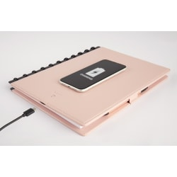 TUL® Wireless Charging Discbound Notebook, Leather Cover, Letter Size, Blush