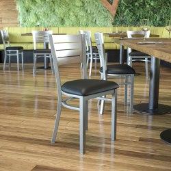 Flash Furniture Metal Slat-Back Restaurant Chair, Black/Silver