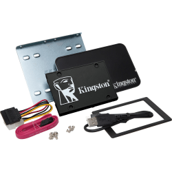 """Kingston KC600 512 GB Solid State Drive - 2.5"""" Internal - SATA (SATA/600) - 3.5"""" Carrier - Desktop PC, Notebook Device Supported - 300 TB TBW - 550 MB/s Maximum Read Transfer Rate - 256-bit Encryption Standard - 5 Year Warranty"""