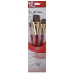Princeton Real Value Series 9000 Red-Handle Brush Set 9122, Assorted Sizes, Camel Hair, Red, Set Of 3