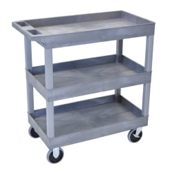 "Luxor E-Series 3-Shelf Tub Cart, 37 1/4""H x 32""W x 18""D, Gray"