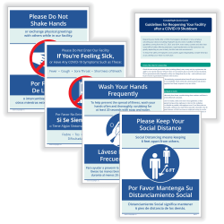 "ComplyRight™ Coronavirus And Health Safety Posting Notices, Social Distancing And Hygiene, 8-1/2"" x 11"", Set Of 4 Notices and 1 Tip Sheet"
